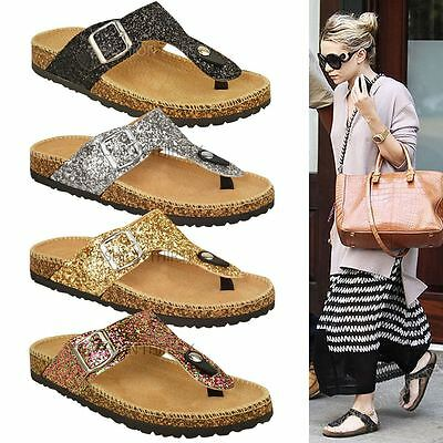 6846f81db6096 Ladies Womens Flat Sandals Glitter Flip Flops Slip On Toe Post Thong Grip  Size