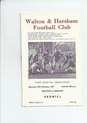 Walton & Hersham v Redhill Surrey Senior Cup Football Programme 1969/70