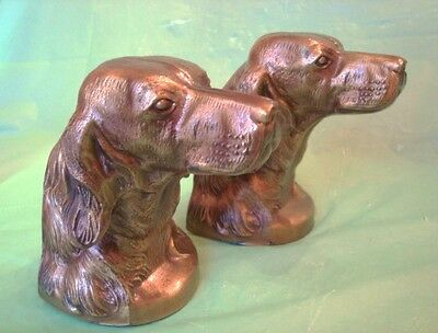 Vintage SETTER or RETRIEVER DOG CAST METAL BOOK ENDS Full Head POINTER DOG Xlnt