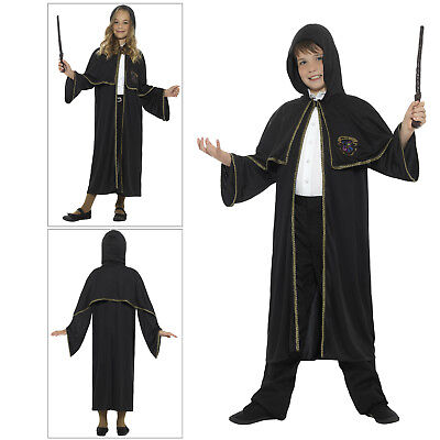 Smiffys Kids Wizard Cloak Fancy Dress Costume Potters World Book Week Outfit