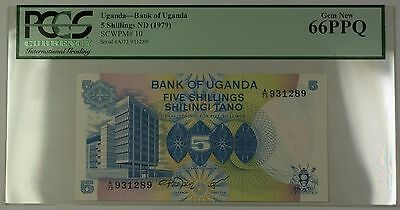 (1979) No Date Bank of Uganda 5 Shillings Note SCWPM# 10 PCGS Gem New 66 PPQ (C)