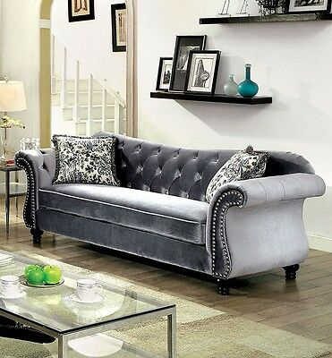 Jolanda Traditional Gray Fabric Sofa Couch Tufted Living Room Furniture