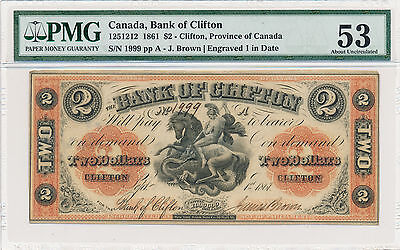 Bank of Clifton, Canada 2 Dollars 1861 - PMG 53 About Uncirculated