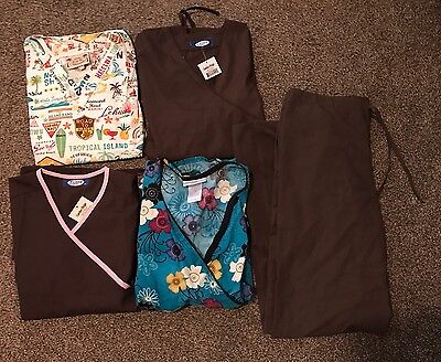 Lot Of 4 Scrub Tops With Coordinating Brown Scrub Pants XS, S