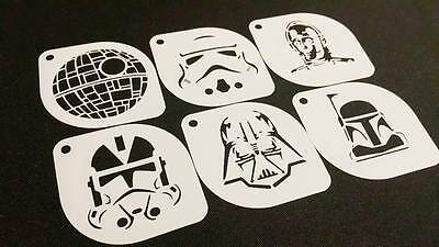 6pcs STAR WARS Style C-3PO Clone Sand Trooper Darth Vader Boba Death Stencils