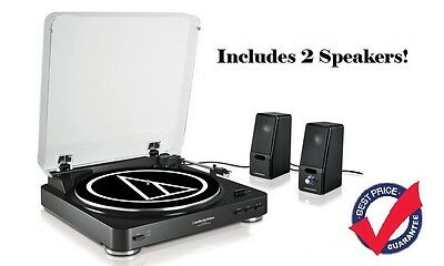 Audio Technica AT-LP60BK Turntable Automatic Belt-Drive With Two speakers - NEW!