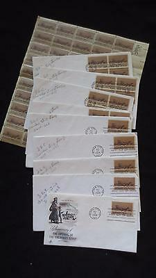 Cherokee Strip Land Run 75th year FDC stamped envelopes and sheet of stamps