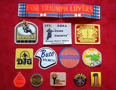 Original Vintage 70's Motorcycle Decals/Stickers lot of 13