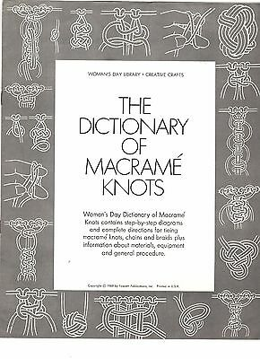Vintage 1960s Pattern Leaflet THE DICTIONARY OF MACRAME' KNOTS by Woman's Day