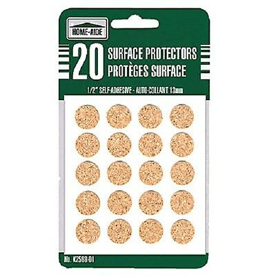 "80 Cork Surface Protectors 1/2"" Self Adhesive Stick On"