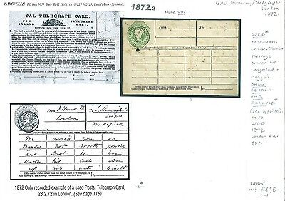 1872.2 GB Postal Stationery Telegraph Card Rarity USED London CDS 28th Feb' 1872