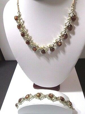 Brown Moonglow Thermoset & Rhinestone Signed Coro Necklace Bracelet Set
