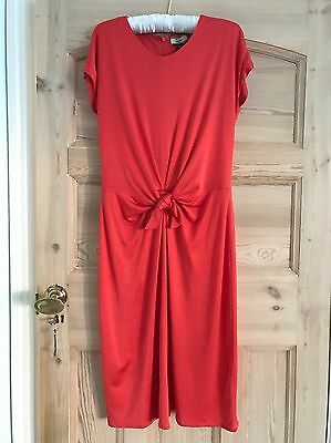 Beautiful Issa Coral Red Silk Jersey Knot Front Dress - UK 8