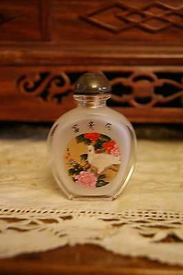 Reverse Painted Signed Chinese Snuff Bottle Birds