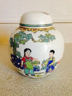 Vintage Mid Century Chinese Porcelain Hand Painted Ginger Jar, Lovely Scene