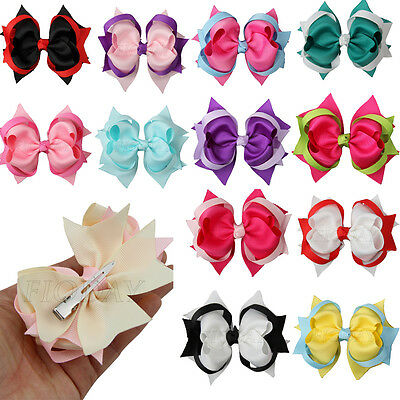 """1pcs 4"""" Two Tone Girl Baby Kids Spike Ribbon Hair Bows Alligator Clip 15 Colors"""