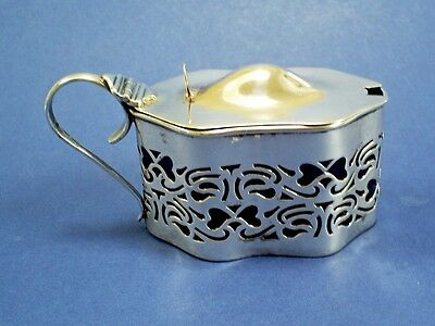 Lovely Antique Edwardian Ornate Pierced Hm Solid Silver Mustard Pot/h&a 1903