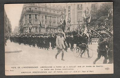unmailed post card Paris July 4 1918 Independence Day American Women parade