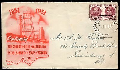 Australia 1951 Wide World FDC Centenaries of Victoroa and Discovery of Gold