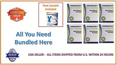 300 Prodigy No Coding Blood Glucose Test Strips Exp:07/2020 Free Lancets + S&H