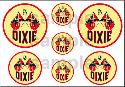 1 1/2 3/4 Inch Dixie Gasoline Model Gas Station Building Sign Decals Stickers R