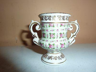 Gemma China Greek Style 2 Handled 6.2 Cm Vase With Rose/leaf & Gilt Pattern Deco
