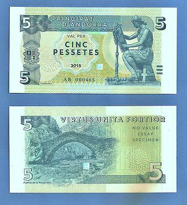 Andorra - 5Pta. Test Specimen Banknote with top rate security features. UNC.