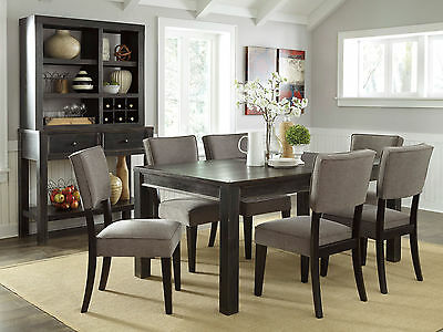 KENDALL - 7pcs Rectangular Dining Room Table & Gray Chairs Set Modern Furniture