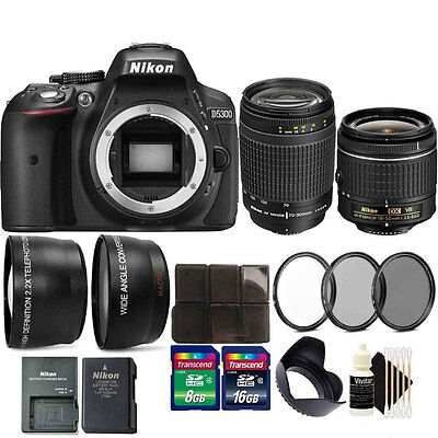Nikon D5300 24.2MP DSLR Camera + 18-55mm +  70-300mm VR  Lens + 24GB Bundle
