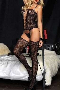 Women's Bouquet Black Lace Suspender Body Stockings One Size - UK SELLER