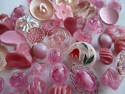 VINTAGE GLASS BUTTONS SHADES OF PINK 48 pcs.