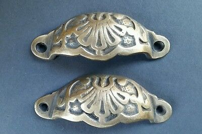 "2 Apothecary Drawer Cup Bin Pulls Handles Antique Victorian Style 3 9/16""  #A2"