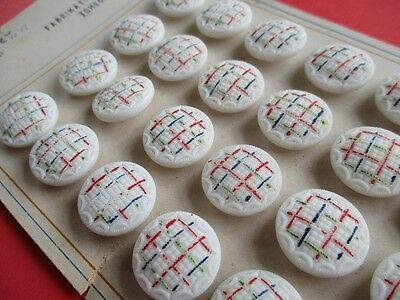 VINTAGE CZECH GLASS BUTTONS HAND PAINTED TEXTURED 24 pcs. UNUSED ON SALES CARD