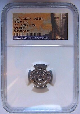 King Henry Treasure Ngc Medieval Lucca Denier Knight Templar Crusader Cross Coin