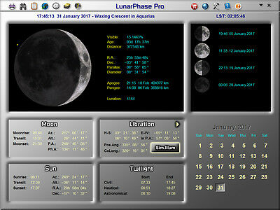 LunarPhase Pro Astronomy Software for Amateur Astronomers and Moon Observers