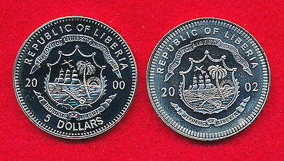 Liberia 2000 & 2002 5 DOLLARS (2 Coins)  Copper-Nickel