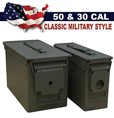 Classic Military Styling Sealed Lid Steel Ammo Can Double Pack with 50 Caliber A