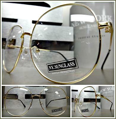OVERSIZED VINTAGE RETRO Style Clear Lens EYE GLASSES Gold Metal Fashion Frame