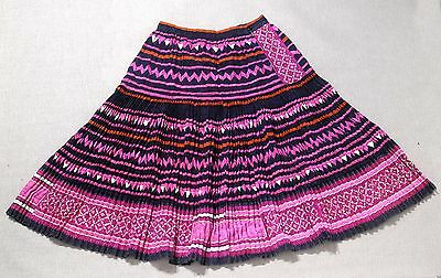 Customized vintage HMONG accordion pleated Skirt, Hilltribes from North Thailand