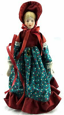 "Vintage Miniature Porcelain Doll Girl 7.5"" w/ stand USED"