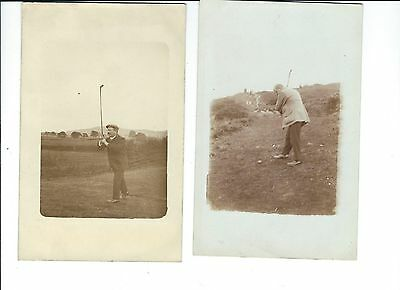 2 Cards of  golfers playing from fairway & semi-rough ; c.1920 & 1930