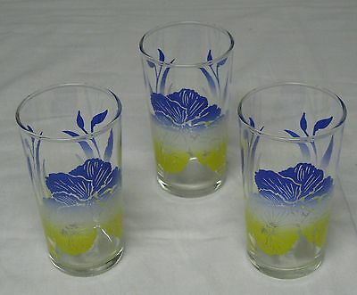 3 Vintage Swanky Swig Blue & Yellow Pansy Flower Drinking Glass Tumblers 8 oz.