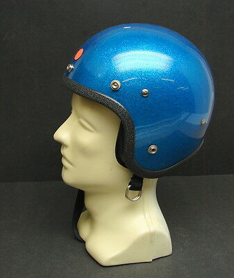 Vintage NOS Blue Metal Flake Glitter Open Face Motorcycle Scooter Helmet Small