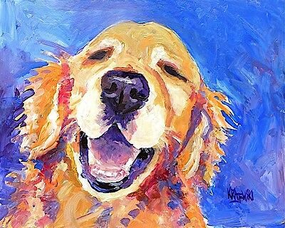 Golden Retriever Art Print Signed by Artist Ron Krajewski 8x10