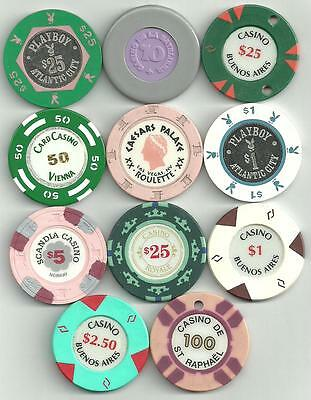 Collection of assorted casino chips.