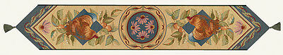Les Poulets French Country Roosters Tapestry Table Runner