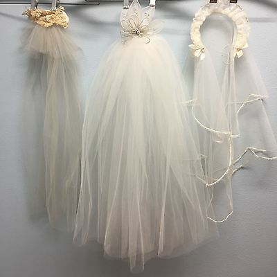 Vintage 1950's-1960's LOT of 3 White & Cream Wedding Veils Lace Pearl Beading