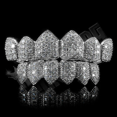 18K White Gold Plated Custom Slugs CZ Top Bottom GRILLZ Teeth Mouth Grills Set