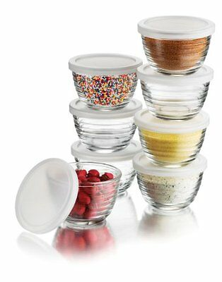 Libbey 6.25oz Small Bowls with Plastic Lids 16pc Set Bowl Sets, New