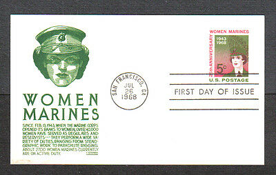 Us Fdc 1968 Women Marines 5C Postage C.s.a. First Day Of Issue Us Postal Card